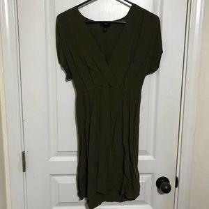 Mossimo olive faux wrap dress